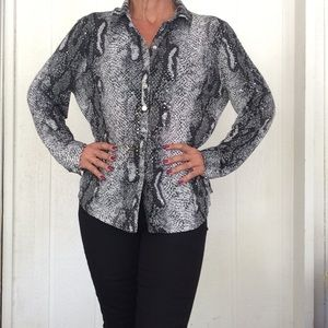 SNAKESKIN PRINT SEQUIN DOT BLOUSE XL